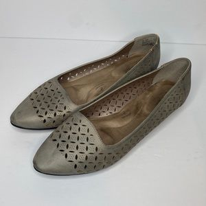 HUSH PUPPIES SOFT STYLES GREY LEATHER FLATS